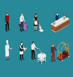 hotel service people staff set isometric view vector image vector image