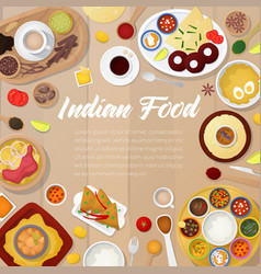 Indian cuisine menu template with chicken rice vector