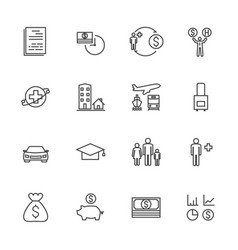 Insurance icon set line icons vector