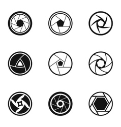 Kind of aperture icons set simple style vector