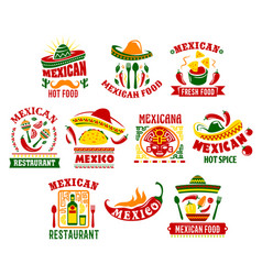 Mexican cuisine fast food restaurant sign design vector