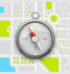 Navigation compass on the city map vector