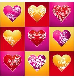 Nine lovely color heart vector