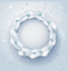 paper christmas wreath vector image vector image