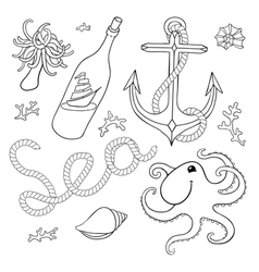Set of sea elements for design vector image