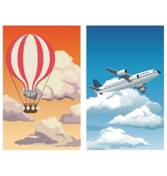 Set sunset sky airballoon-blue sky clouds plane vector