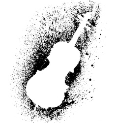 Silhouette of cello with grunge black splashes vector image vector image