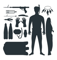 Spearfishing silhouette set vector