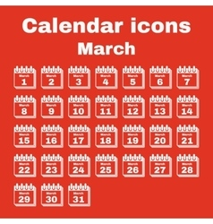 The calendar icon March symbol Flat vector image vector image