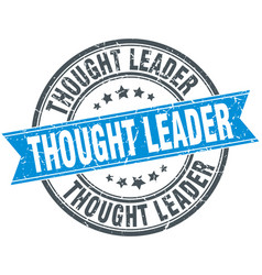 thought leader round grunge ribbon stamp vector image vector image