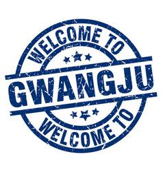 Welcome to gwangju blue stamp vector