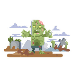 Zombies in cemetery night vector