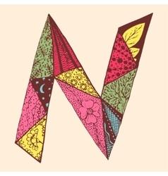 Vintage monogram n doodle colorful alphabet vector