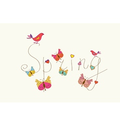 Spring word banner with butterflies vector