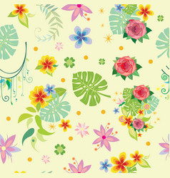 seamless pattern with decorative plants vector image