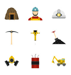 Coal mine icons set flat style vector