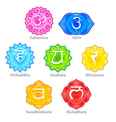 Seven chakras icons set vector