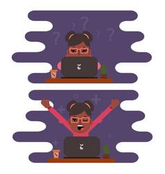 Girl freelancer working at a computer design flat vector