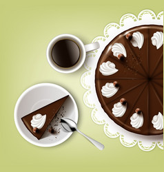 Cutting chocolate cake vector