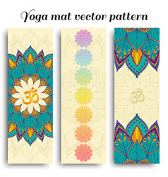 Set of yoga mat om and chakra pattern vector