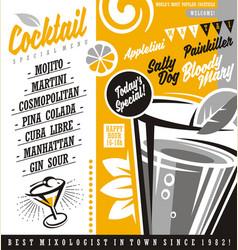 Cocktail bar menu list vector