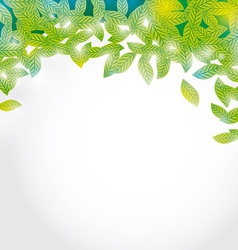 Summer branch with fresh green leaves on white vector