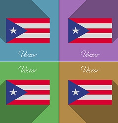 Flags purto rico set of colors flat design and vector
