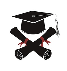 Isolated black graduation cap and diploma vector