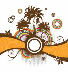 abstract summer frame palm trees vector image