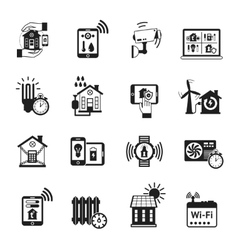 Smart house black icons set vector