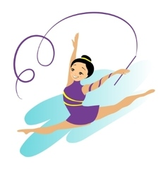 Sports women art gymnastics workout exercise vector