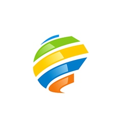 Globe abstract technology colorful logo vector