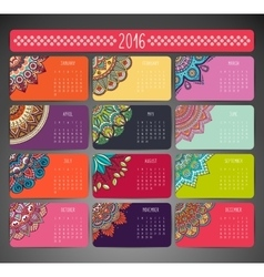 Calendar with mandalas vector