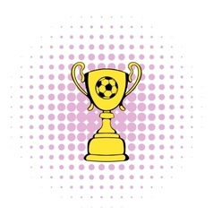 Golden soccer trophy cup icon comics style vector