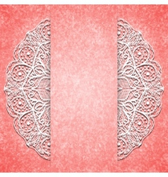 Abstract pink background with white lacy mandala vector