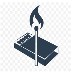 black icon lighted match vector image