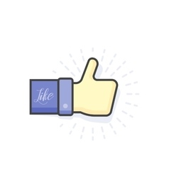 Blue thumb up icon vector image