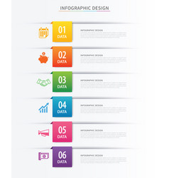 business index infographics template with 6 data vector image vector image