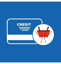 cartoon basket shopping credit card vector image