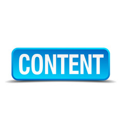 content blue 3d realistic square isolated button vector image vector image