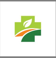 cross organic medic logo vector image