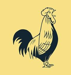 Crowing Rooster Line Art vector image vector image