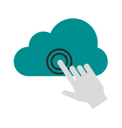 Cursor clicking on cloud storage icon image vector