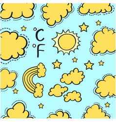 Doodle of weather with cloud style vector