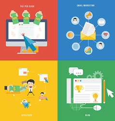 Element of e-commerce pay per click marketing and vector