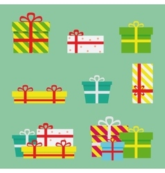 Gift boxes flat presents vector