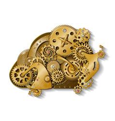 golden gear mechanism composition vector image