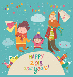 Happy family with christmas shopping vector