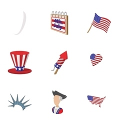 Independence of USA icons set cartoon style vector image vector image