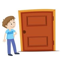 Man looking at the door vector